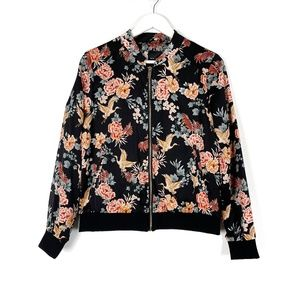 New Look Silky Floral Bomber Jacket Size 8